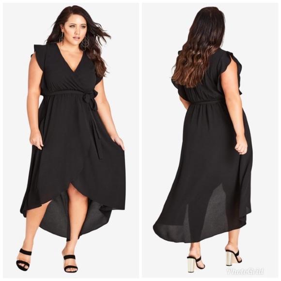 City Chic Dresses & Skirts - CITY CHIC Lolita Black Maxi Dress Faux Wrap Hi Lo